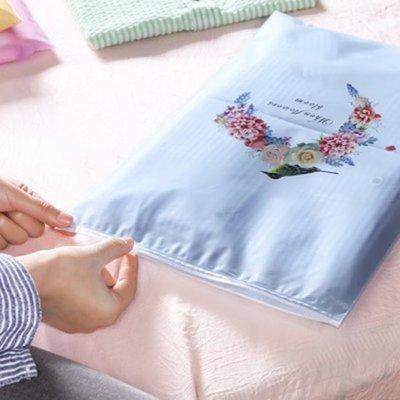 Color_me【P635】印花旅行拉邊收納袋(大號40x28) 單入 出差 旅行 拉邊袋 衣物 整理 收口袋 卡通 花