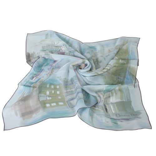 【姊只賣真貨】Christian Dior 城市與熱氣球絹紗絲巾(淺藍色)送禮禮物自用皆可