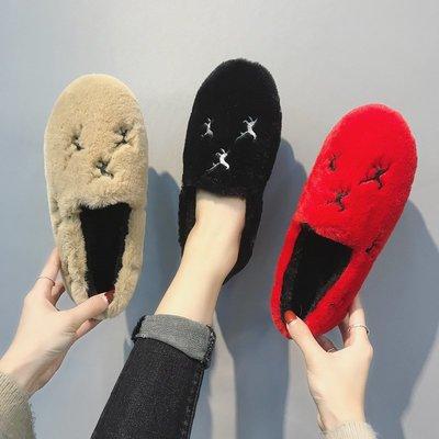 韓版 潮流 豆豆鞋 樂福鞋 百搭款毛毛鞋女冬季豆豆鞋韓版瓢鞋復古刺繡加絨平底單鞋懶人鞋