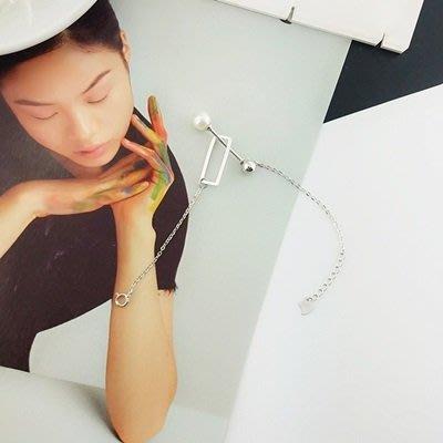 珍珠 手 鍊 925純銀手環-7.5mm時尚百搭情人節生日禮物女飾品73qn4[獨家進口][巴黎精品]