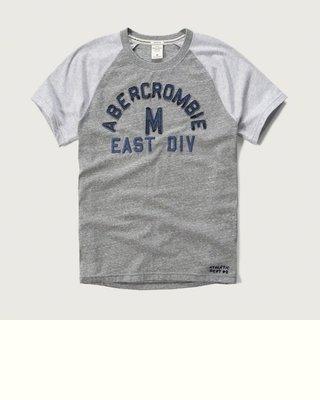 Maple麋鹿小舖 Abercrombie&Fitch *AF 灰色電繡貼布字母短T*( 現貨L/XL號 )