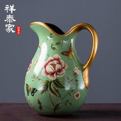 〖洋碼頭〗歐式田園陶瓷小花瓶美式客廳裝飾擺件仿真花藝套裝幹花插花器 xtj465