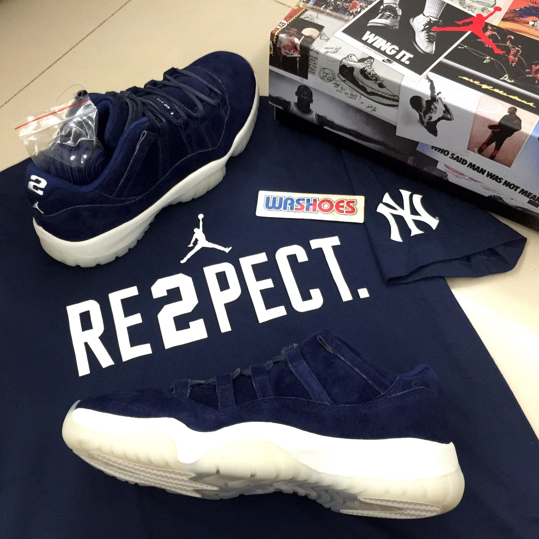 Washoes Nike Air Jordan 11 Low RE2PECT AV2187-441 藍麂皮Jeter ... e32f09901
