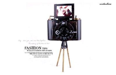尼克卡樂斯~復古工業風三腳架相機模型裝飾品擺件  loft錄像機 做舊攝影道具 古董 模型 店面裝飾 道具櫥窗佈置設計