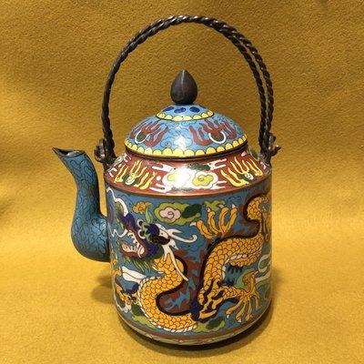 【小小的】~ 清末 老件 ~ 景泰藍 銅胎掐絲琺瑯龍紋壺
