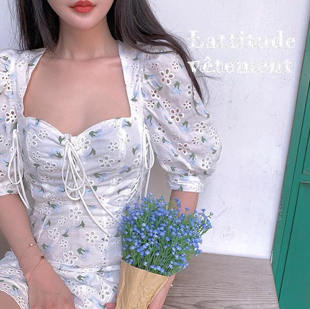 ◎緹蕾雅◎高級訂製設計款韓版公主袖縷空蕾絲刺繡碎花印花拼接露背綁帶洋裝實拍/蕾絲口罩針織外套收納貼紙手機架保護貼/現+預