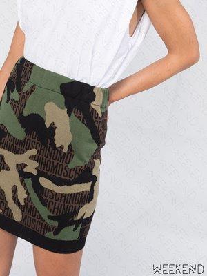 【WEEKEND】 MOSCHINO 針織 彈性 合身 文字 迷彩 短裙