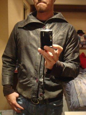英國潮牌專櫃正品 HUMOR 灰綠色小羊皮騎士風短夾克( M)  識貨者請把握
