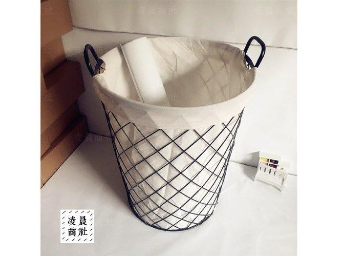 凌晨商社 //北歐鄉村zakka復古鐵製麻布 可拆洗 收納洗衣籃  儲存籃 玩具雜物收納 工業風鐵籃