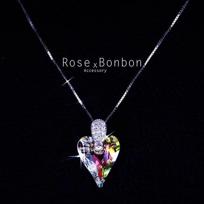 奧地利水晶 S925純銀項鍊 愛心鑲鑽鎖骨鏈  短項鍊 情人送禮Rose Bonbon G4N06