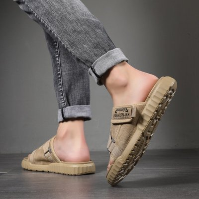 極簡鞋館~夏季室外拖鞋男2020新款男士涼拖個性正韓涼鞋外穿時尚潮流沙灘鞋