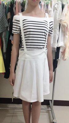 橫條平口紋吊帶裙 #洋裝 #平口 #吊帶短裙