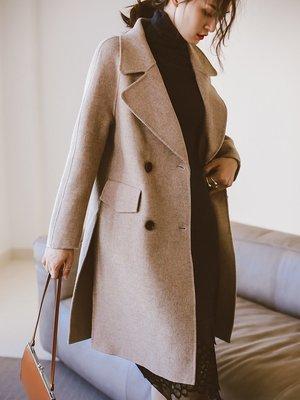 原單 外貿 尾單 // L碼特價! Office Lady高級通勤!淡漠色混彩100%手工羊毛雙面羊毛呢大衣