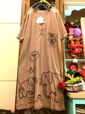 ♪♪韓 tiny cuttle品牌童趣大象小樹塗鴉刺繡長版棉衫洋裝pk