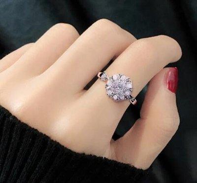 戒指 新款時尚名媛氣質閃亮時來運轉旋轉開口可轉動調節女士戒指  mj1
