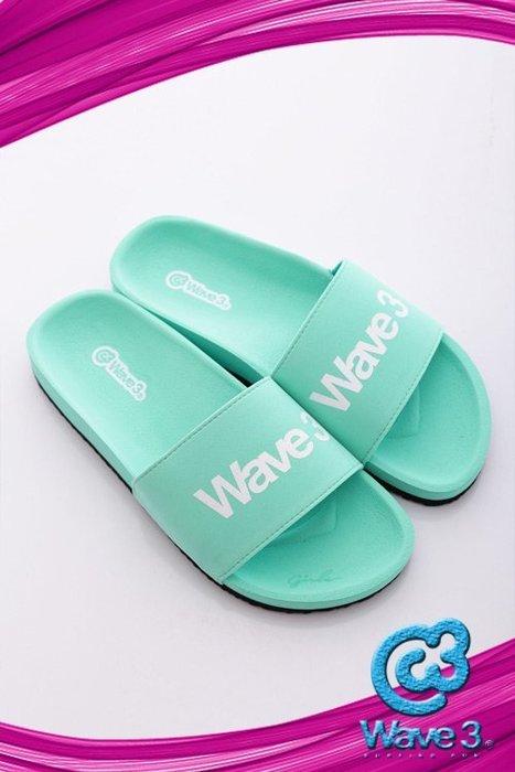 玉米潮流本舖 WAVE 3  台灣自創品牌 16205207 馬卡綠 女款 印刷LOGO 運動休閒拖鞋 現貨