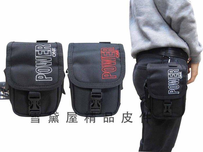 ~雪黛屋~POWER ONE 腰包外掛式腰包中容量工作包工具袋隨身物品專用輕便腰包防水尼龍布型男必備款AI784