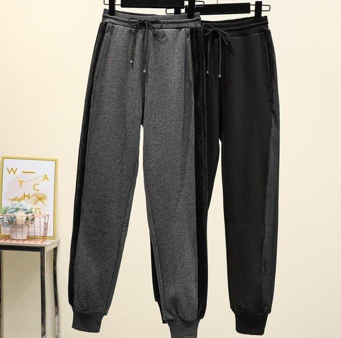 超大尺碼冬裝新款大碼寬松加絨小腳休閑長褲加厚保暖哈倫褲 3XL-6XL B34