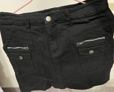 真拉鍊口袋造型牛仔裙*黑色