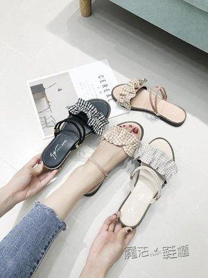 日和生活館 一鞋兩穿度假平底羅馬涼鞋女百搭學生沙灘鞋CHIC仙女鞋 S686