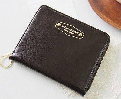 *YOOWOO*C特賣【韓國空運 ICONIC ZIP UP 凱特王妃 名品皮革 輕巧隨身 短夾+零錢袋~巧克力咖】