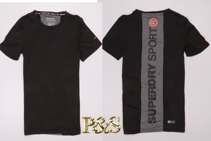 [PS]全新正品 Superdry 極度乾燥 GYM 訓練 慢跑 運動 健身 速乾 排汗 短T UA  背後有字 黑色