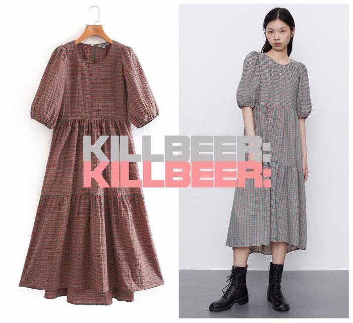 KillBeer:小姊姊等等我之 歐美復古法式鄉村少女格紋嫩粉綠泡泡袖垂墜感傘擺連身裙長洋裝A080203
