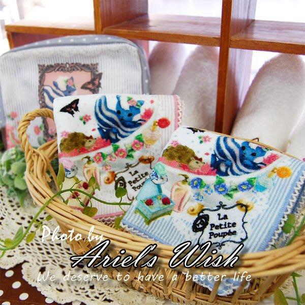 Ariel's Wish-La Petite Poupee-天竺鼠艷鼠花園蕾絲滾邊手帕方巾小毛巾--日本製--粉色&藍色