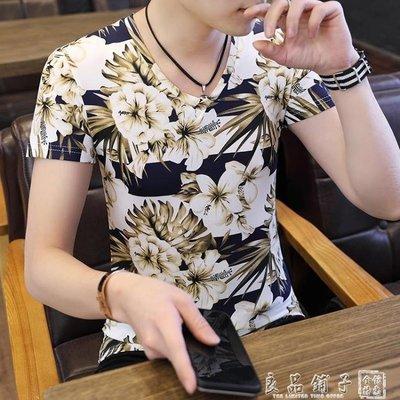 男士短袖t恤2019新款夏季潮流韓版v領上衣服半袖男裝休閒修身體恤