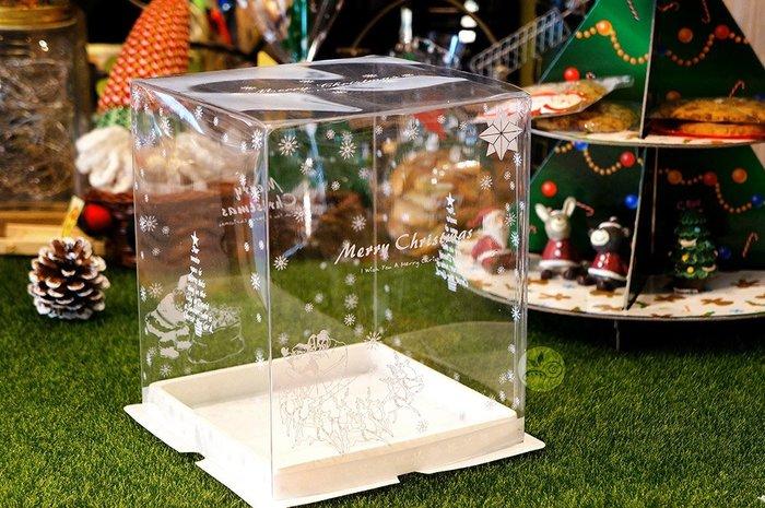 中型聖誕噴霧盒_白色_JC201◎翻糖盒.正方.透明.噴霧盒.聖誕節.耶誕節.展示.薑餅屋.聖誕老人