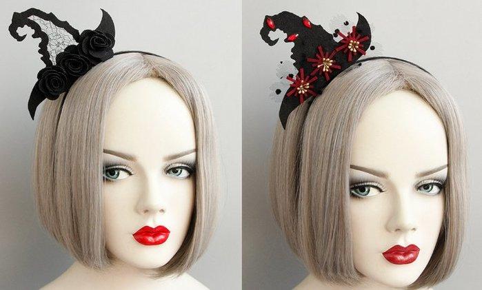 乂世界派對乂萬聖節服裝/巫婆髮箍/萬聖節髮箍/巫婆帽/巫婆帽髮箍/蕾絲巫婆帽髮箍/紅寶石巫婆帽髮箍