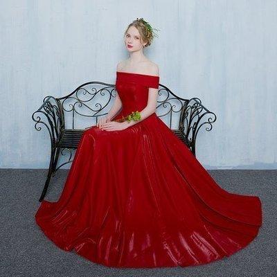 大小姐時尚精品屋~~紅色一字領新娘敬酒宴會主持長禮服~3件免郵