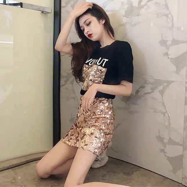 韓版氣質亮片短袖T恤高腰半身裙窄裙短裙