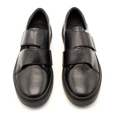 皮鞋 真皮厚底鞋(零碼賠售出清、恕不退換)-交叉魔術貼輕便百搭男鞋73kv17[獨家進口][米蘭精品]