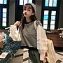 小香風 短袖T恤 時尚穿搭 燈籠袖衛衣女長袖寬松 韓版 拼接條紋學生百搭短款上衣