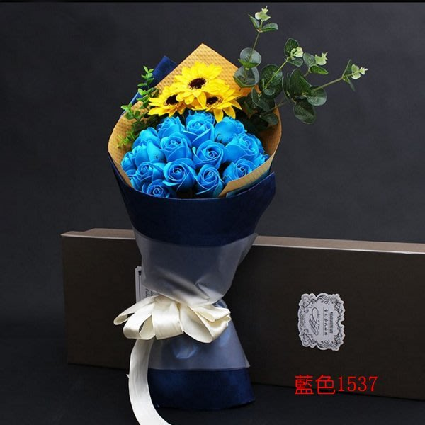 5Cgo【鴿樓】含稅會員有優惠  524731319745 香皂花束金色向日葵禮物送女友閨蜜21朵+禮盒