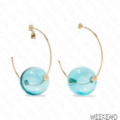 【WEEKEND】ROSANTICA Bolle 大尺寸 透視圓球 金屬圓環 一對 耳環 藍色 限定款 19秋冬