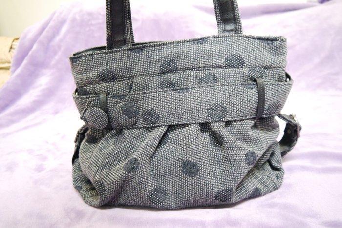 珊蒂藏寶箱~GOZO灰色圓點普普風側背、斜背、手提三用包
