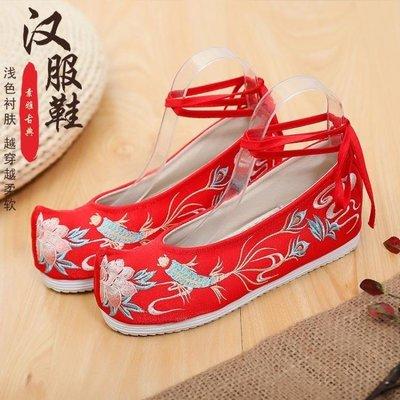 ZIHOPE 簡百蓮漢服配鞋女布鞋配旗袍古裝復風千層平底民族風繡繫帶單布鞋ZI812