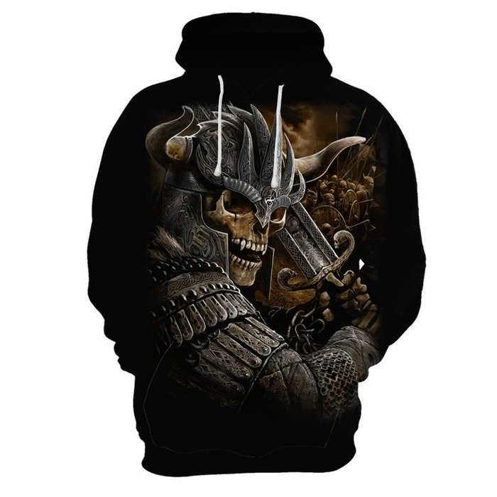 『潮范』  N4 外貿新款長袖T恤 3D數碼印花衛衣 連帽T恤 套頭衫 骷髏圖案T恤