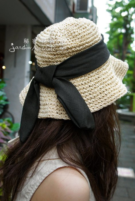 夏日必備蝴蝶結編織遮陽草帽/手編草帽/遮陽帽/可內調帽圍/ 荷葉帽/籐編帽/可折疊攜帶方便