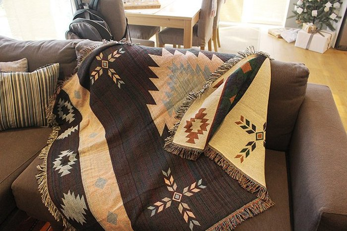 150x200cm複古美式鄉村休閑毯裝飾毯掛毯裝飾毯純棉沙發毯幾何納瓦霍Sugar Korea100%