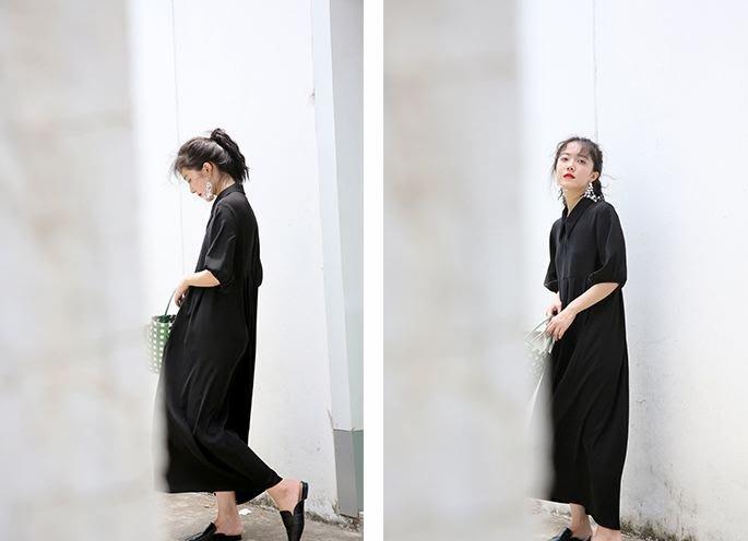 【鳳眼夫人】自製訂製款夏季新款 長/短 簡約百搭經典寬鬆超顯瘦小黑裙 劍領蓬袖垂墜感壓摺飄逸質感俏皮娃娃裝 雪紡連身長裙