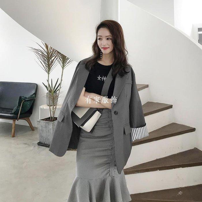 有家服飾小西服2019新款女裝休閒寬松復古西裝外套女香港網紅chic小西裝潮