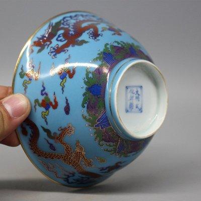 大明成化年制 雙龍藍釉描金