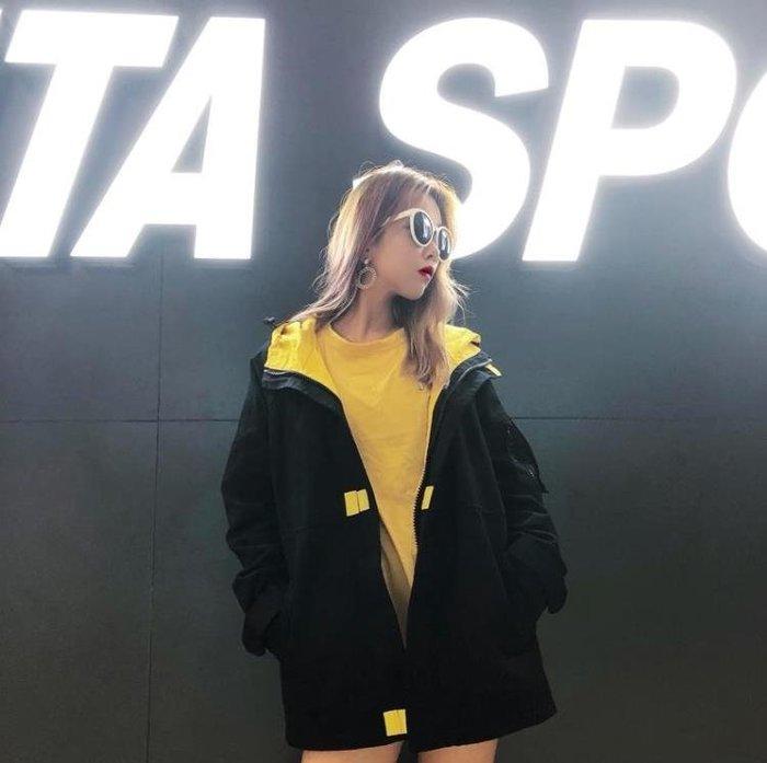 歐美嘻哈外套女春秋裝2018新款原宿bf寬鬆工裝港風復古夾克潮街頭