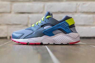 【超級特價】 NIKE Huarache Run GS 螢光綠 寶藍 粉紅底 女鞋 慢跑鞋 654275-002