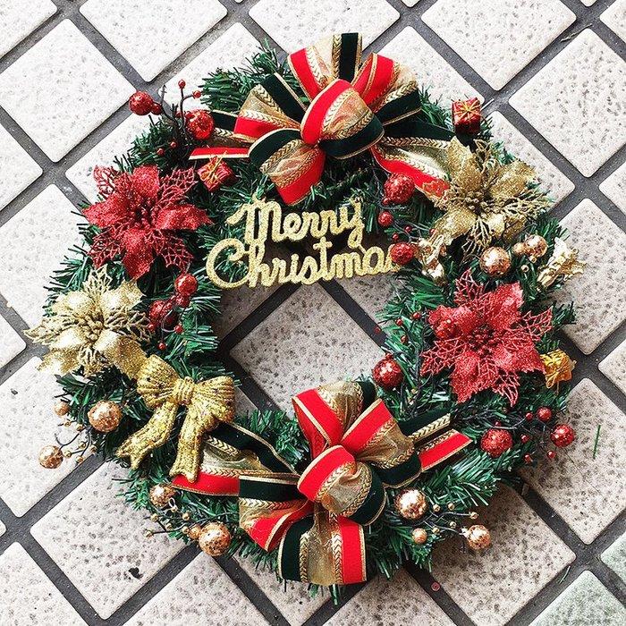 【洋洋小品45cm金紅聖誕花圈聖誕花環】桃園平鎮中壢聖聖誕節佈置聖誕樹藤聖誕藤圈聖誕衣聖誕帽金蔥聖誕紅聖誕花