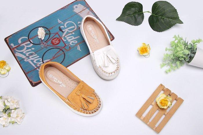 富發牌。童鞋。33BA88 俏皮流蘇兒童懶人鞋 兒童休閒鞋(白/黃/黑) (16-22號)~nanakids娜娜童櫥