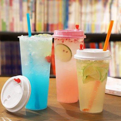 預售款-LKQJD-注塑杯冷飲塑料杯一次性奶茶果汁杯網紅飲料打包杯子帶蓋